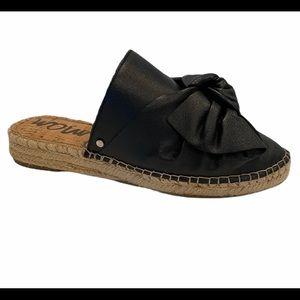 Sam Edelman Lynda Black Leather Bow Espadrilles